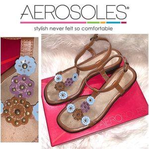 AEROSOLES Leather Flower Heeled Sandals SZ.8.5